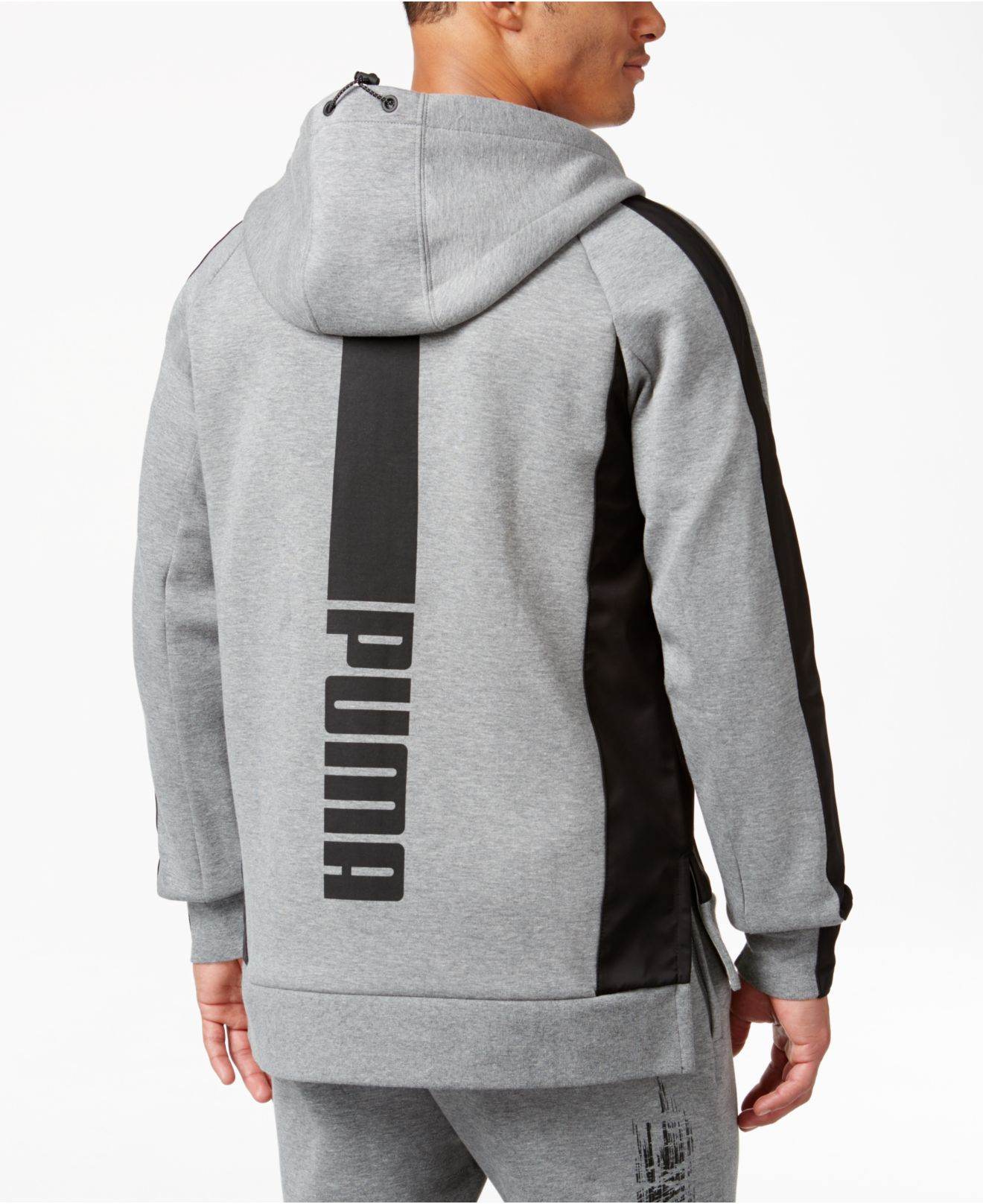 Puma Men S Graphic Full Zip Hoodie In Gray For Men Lyst
