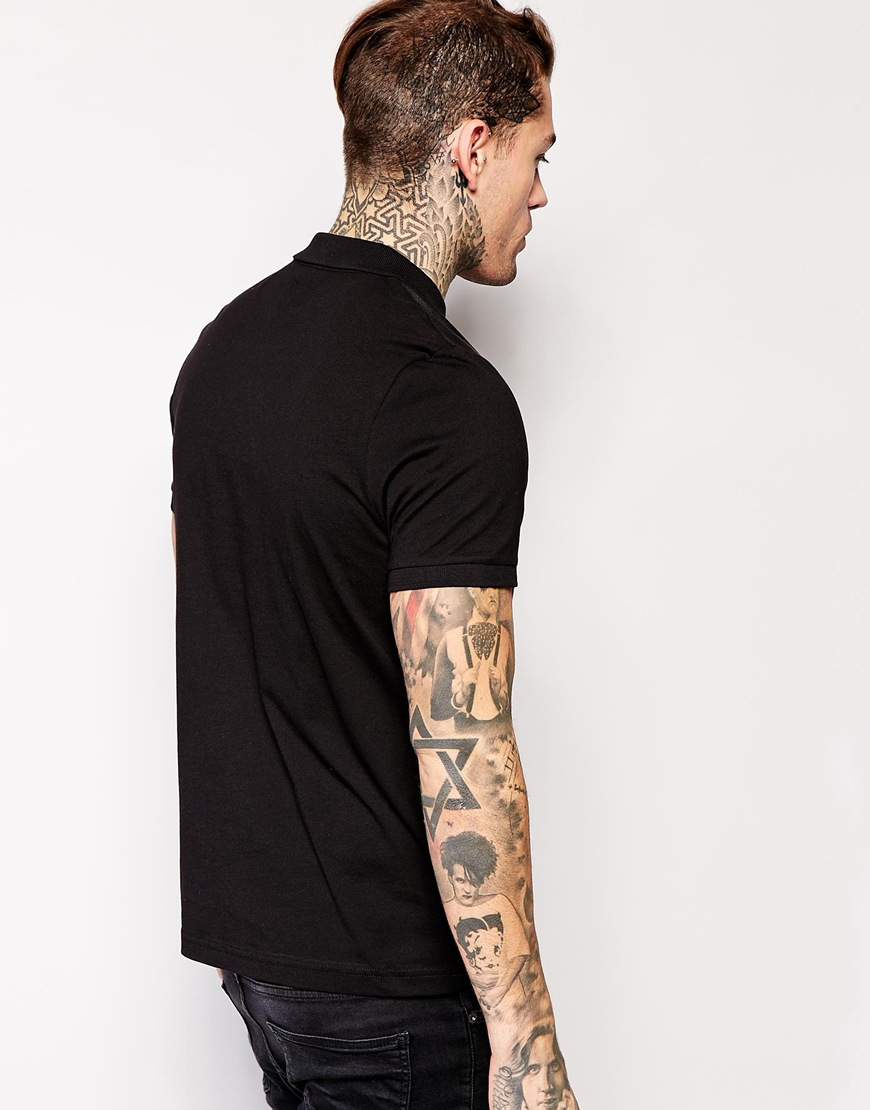Lyst Asos Polo Shirt With Leather Look Front Panel In