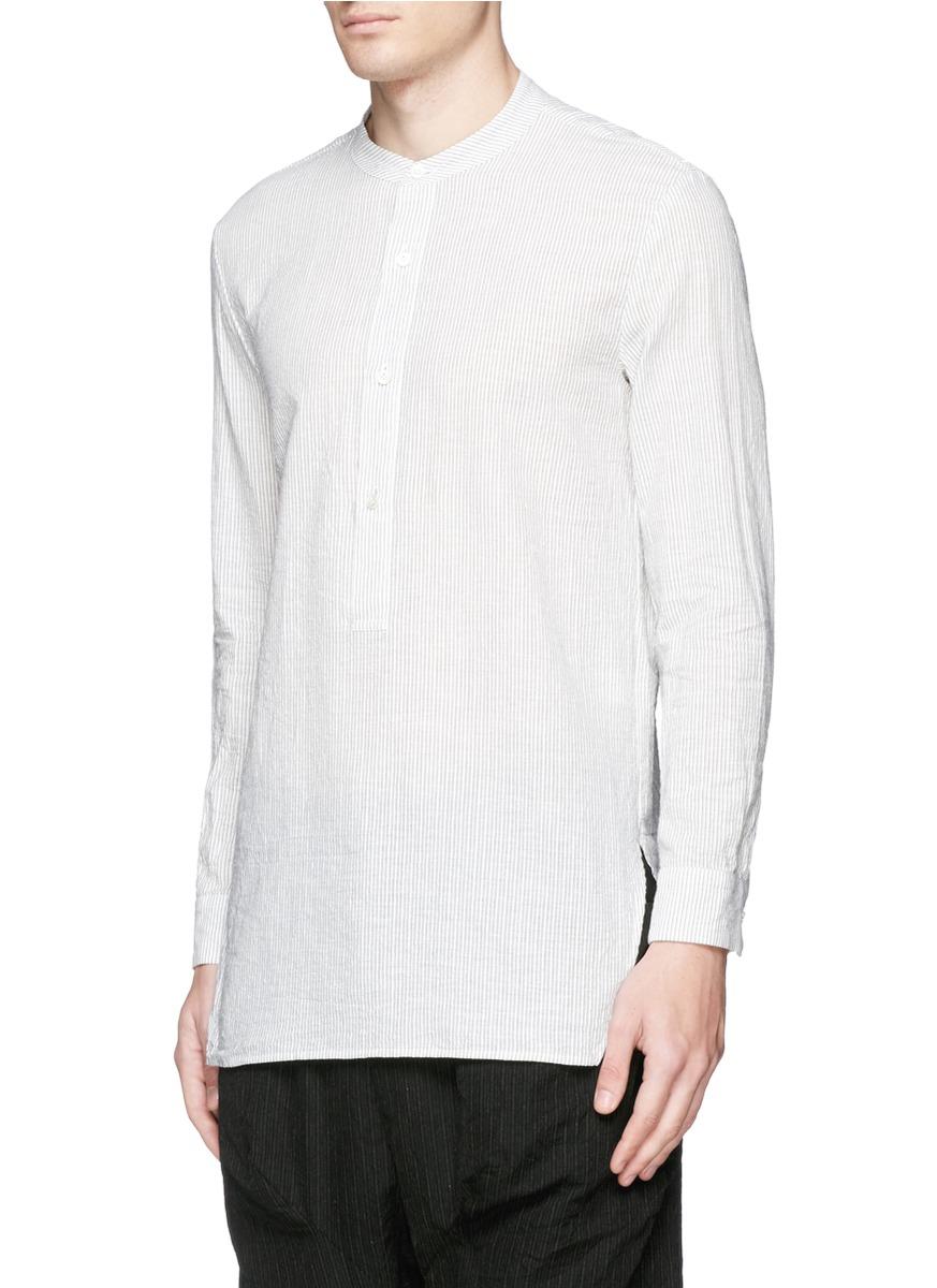 Lyst Attachment Band Collar Pinstripe Cotton Linen Shirt