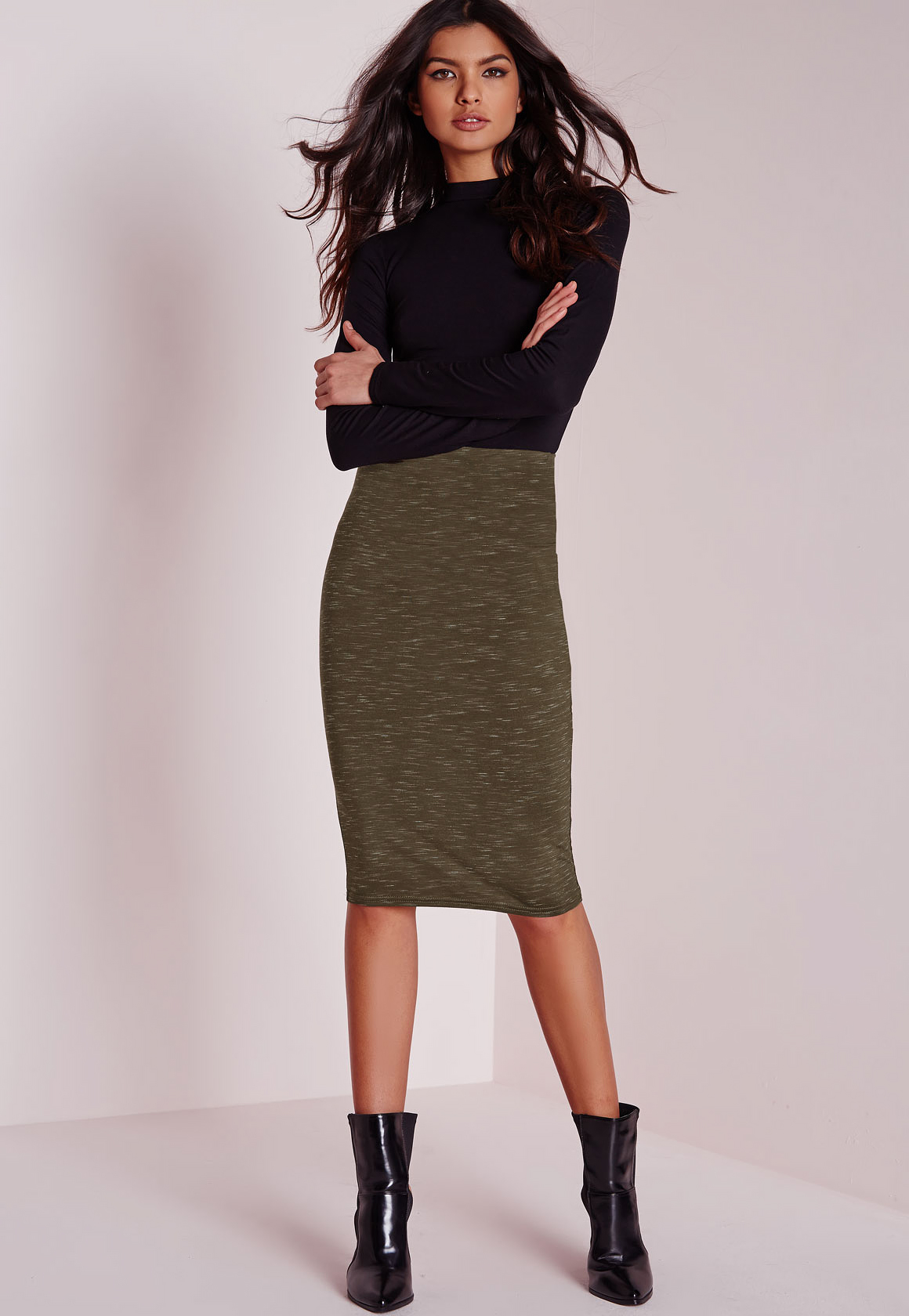 Missguided Slub Jersey Midi Skirt Khaki in Natural | Lyst