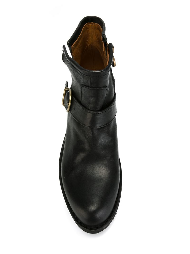 fiorentini baker buckled leather ankle boots in black lyst