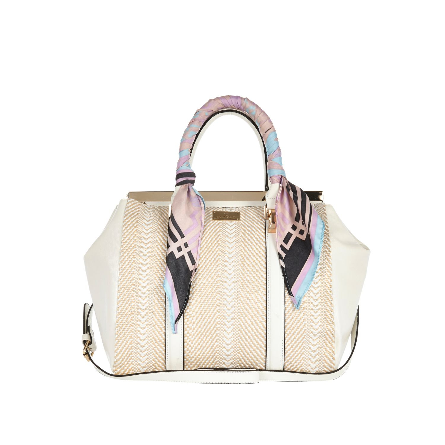 river island white scarf handle woven tote bag in white lyst
