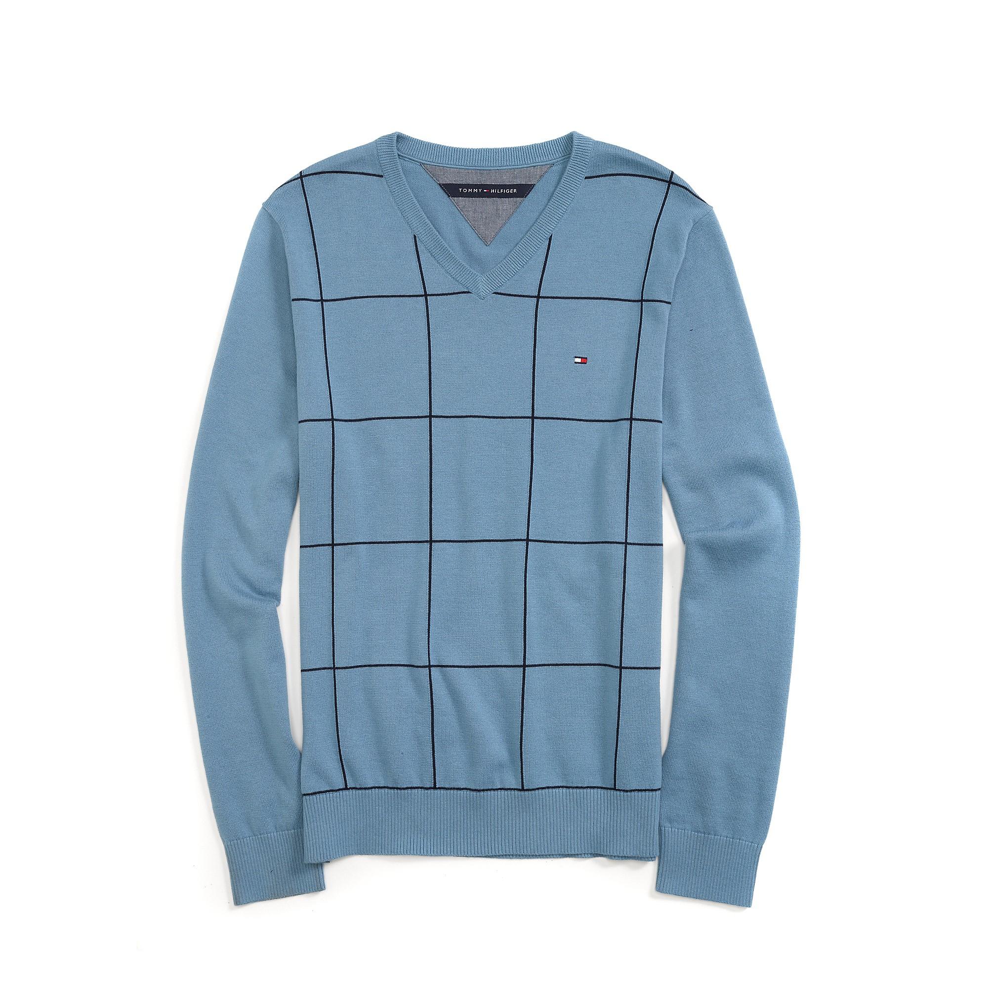tommy hilfiger windowpane v neck sweater in blue for men. Black Bedroom Furniture Sets. Home Design Ideas