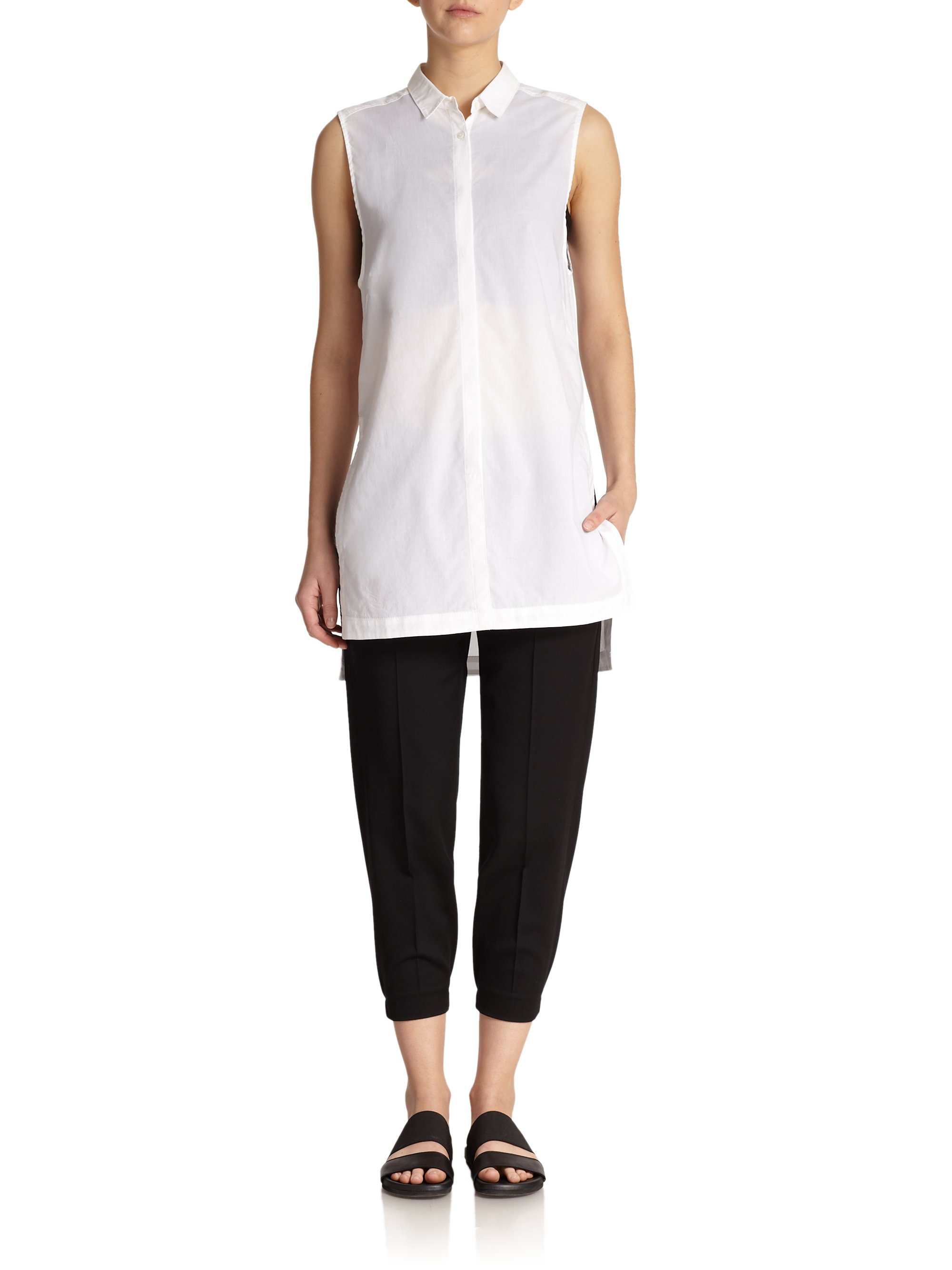 ae6472b1 Helmut Lang Sleeveless Cotton Tunic Blouse in White - Lyst