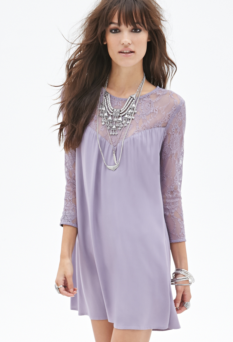 5cd8aa9ee43 Forever 21 Purple Lace Paneled Shift Dress