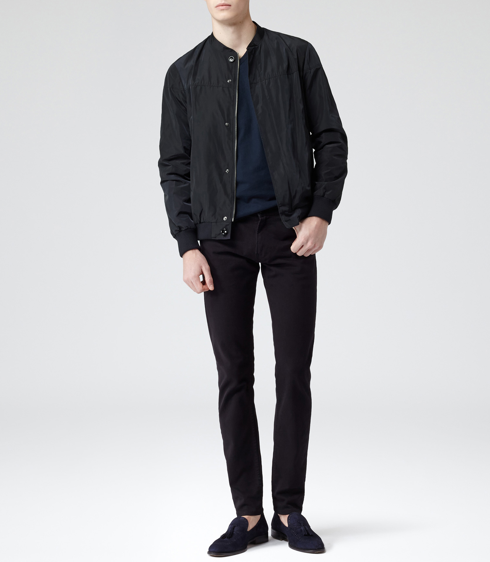 Reiss Sonic Ligthweight Bomber Jacket in Dark Navy (Blue) for Men