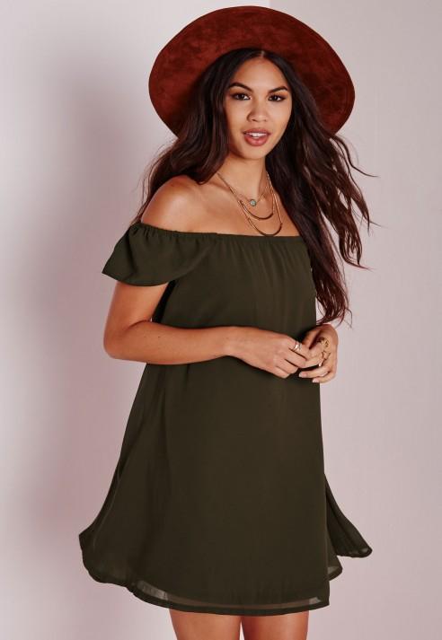 4a0a32bea0ad Lyst - Missguided Chiffon Bardot Cap Sleeve Shift Dress Khaki in Natural