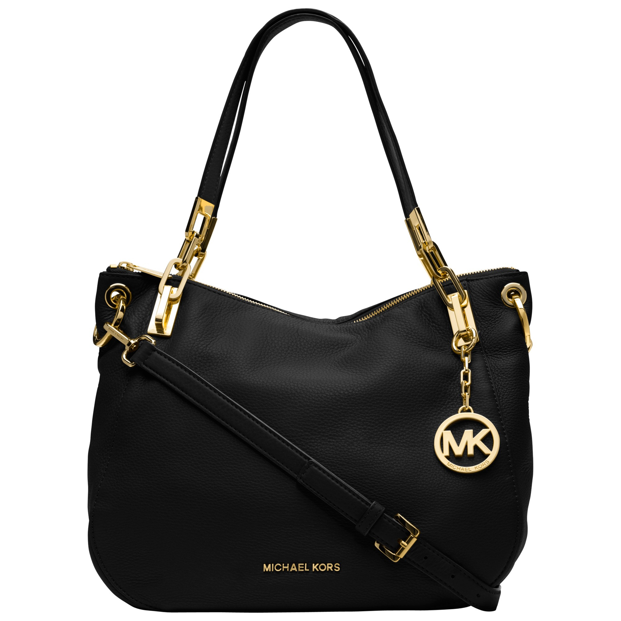 db0336761cf8 MICHAEL Michael Kors Brooke Medium Leather Shoulder Bag in Black - Lyst