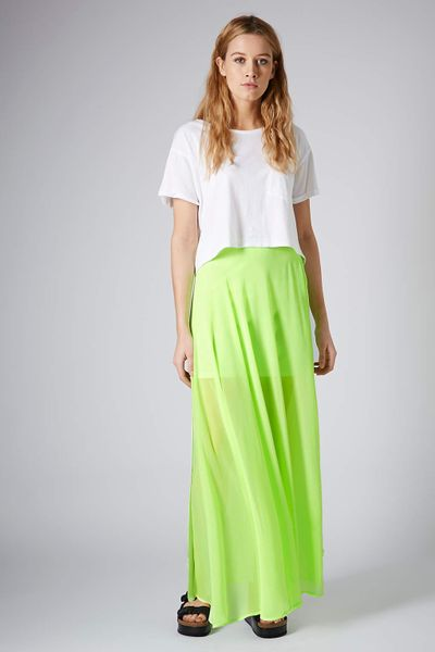 topshop lime chiffon maxi skirt in green lime lyst