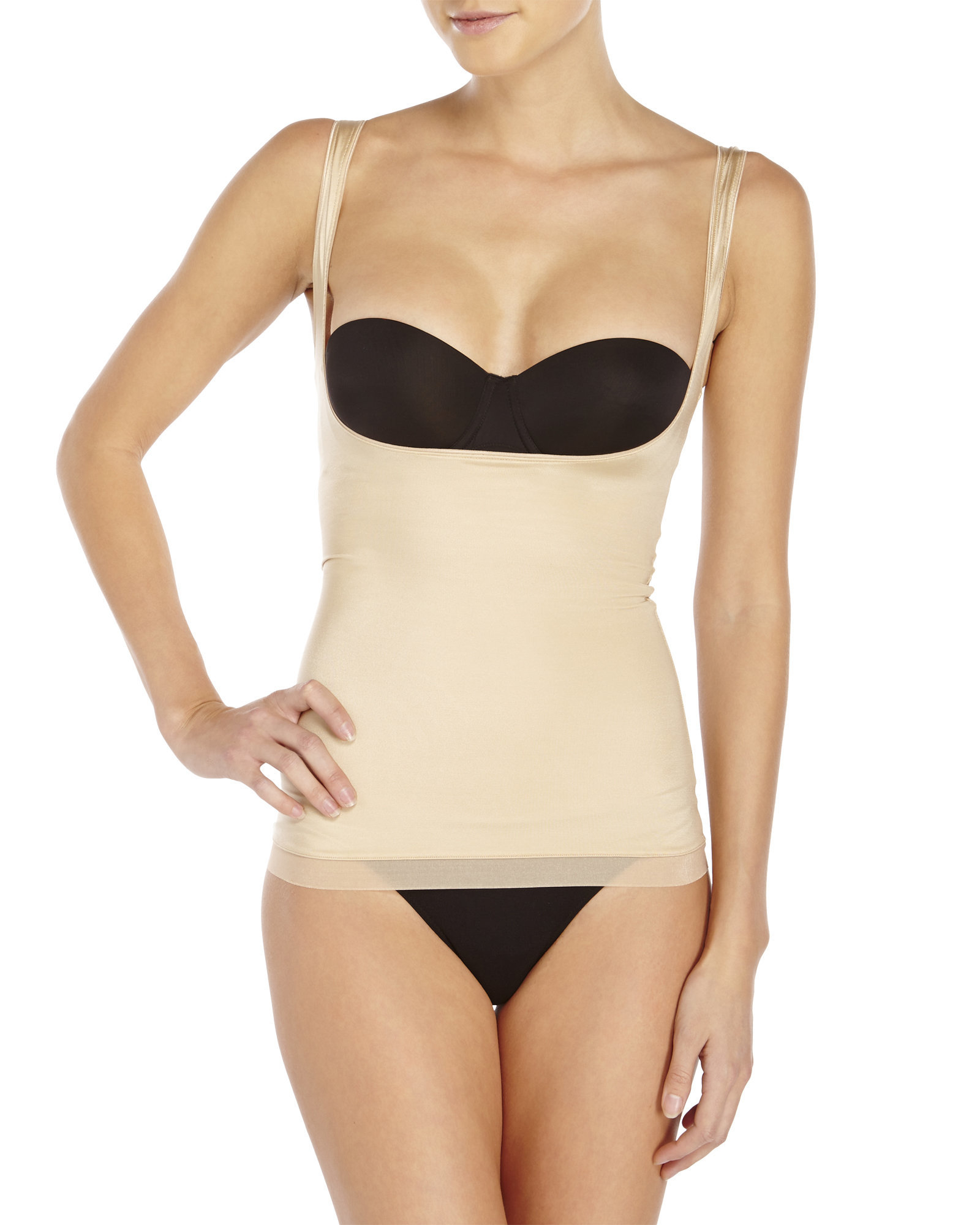 9e5cdbcc5f Lyst - Spanx Slimplicity Open-Bust Camisole in Natural