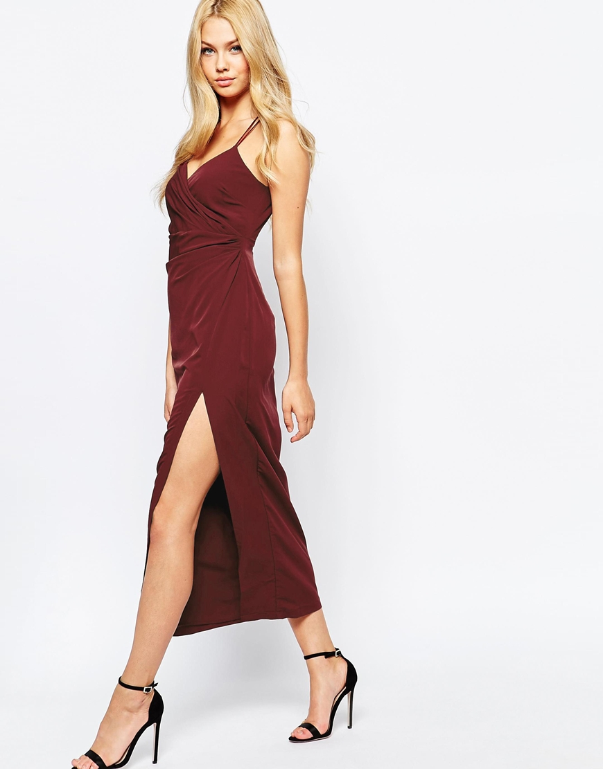 Bardot Wrap Dress With Thigh Split In Purple Lyst