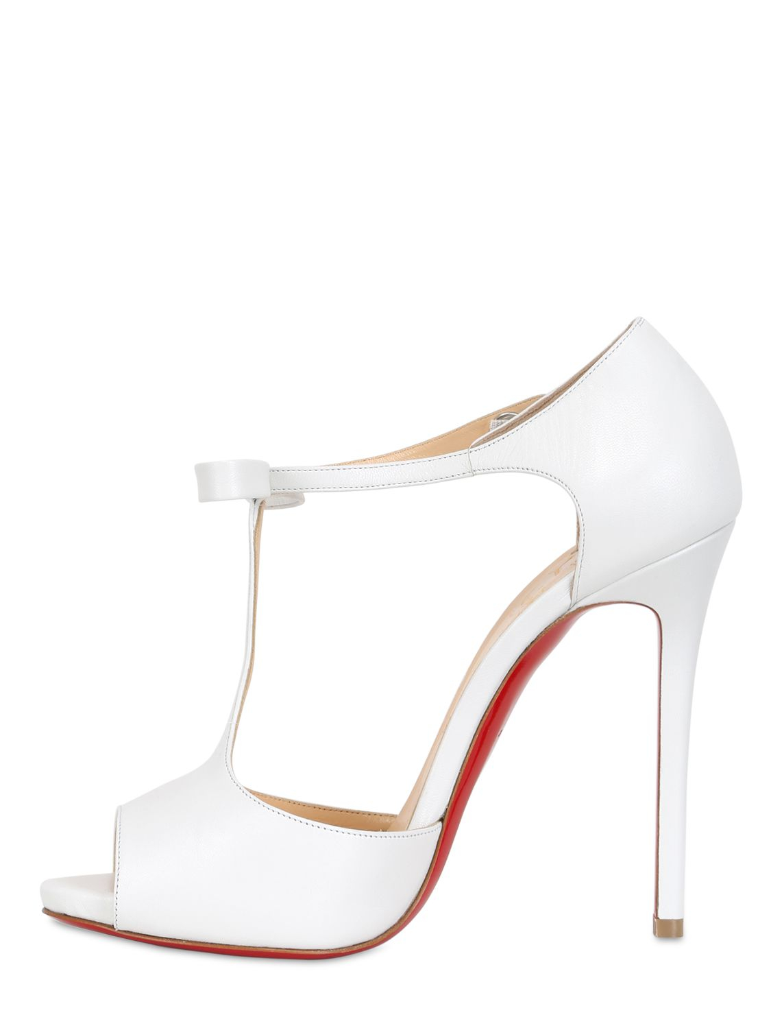 50b3455e826 Christian Louboutin White 120mm Belly Nodo Leather Open Toe Pumps