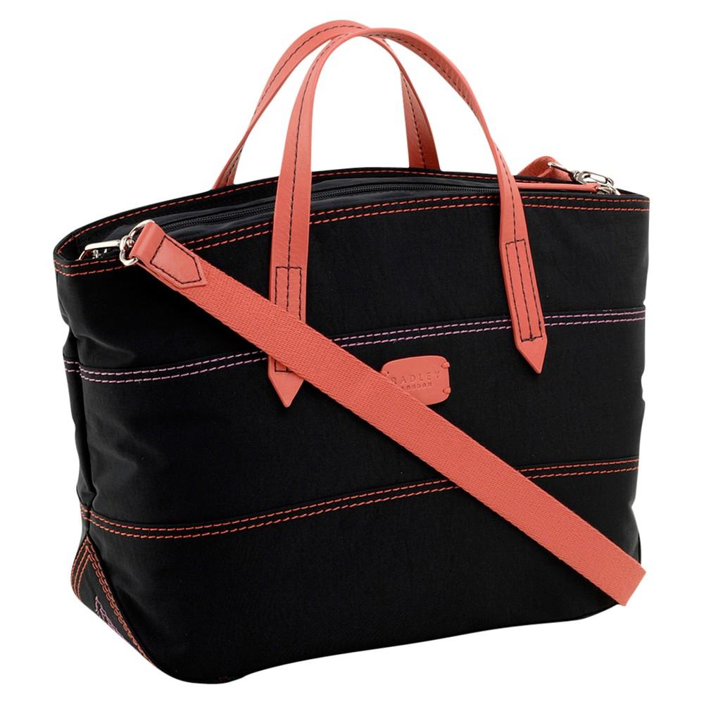 Radley Forbes Medium Zip Multiway Crinkle Nylon Tote Handbag in Black