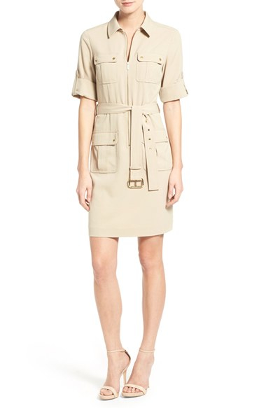 michael michael kors belted front zip shirtdress in