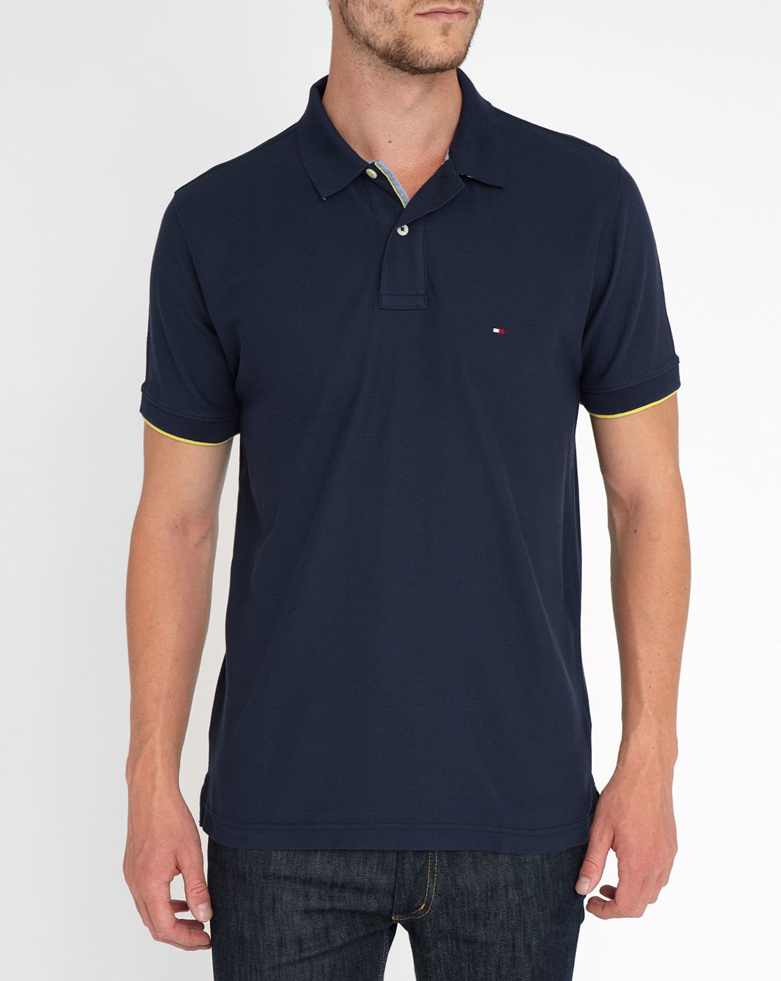 tommy hilfiger navy polo shirt with striped collar revers. Black Bedroom Furniture Sets. Home Design Ideas