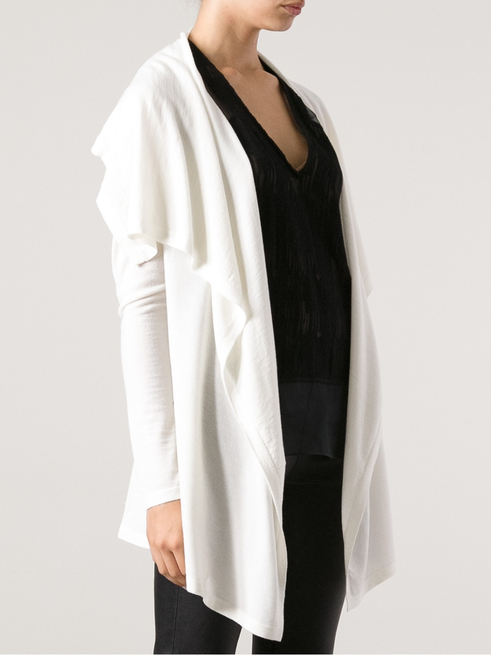 Theory Waterfall Cardigan in White | Lyst