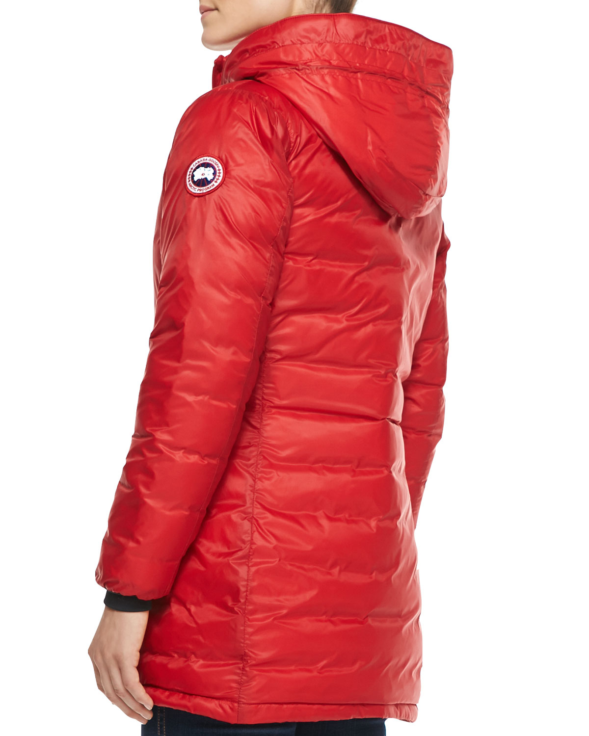 Lyst - Canada Goose Camp Hooded Mid-Length Puffer Coat in Re ...
