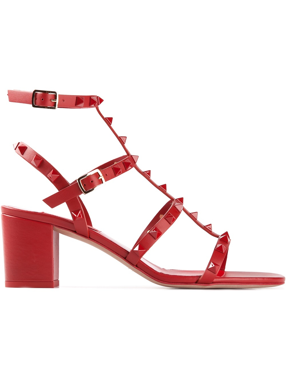 Valentino Rockstud Sandal in Red - Lyst