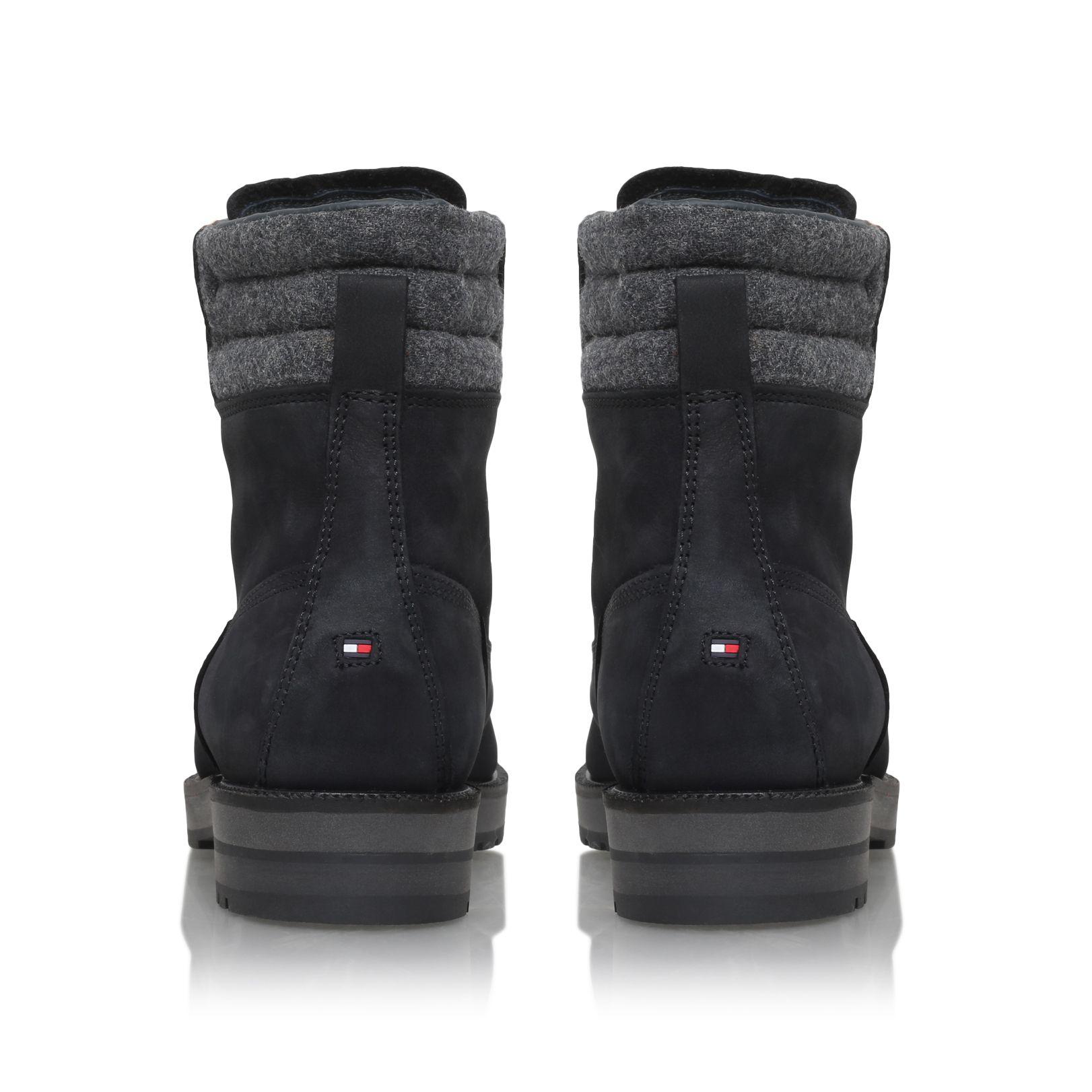 lyst tommy hilfiger west 3c1w flat lace up boots in black. Black Bedroom Furniture Sets. Home Design Ideas