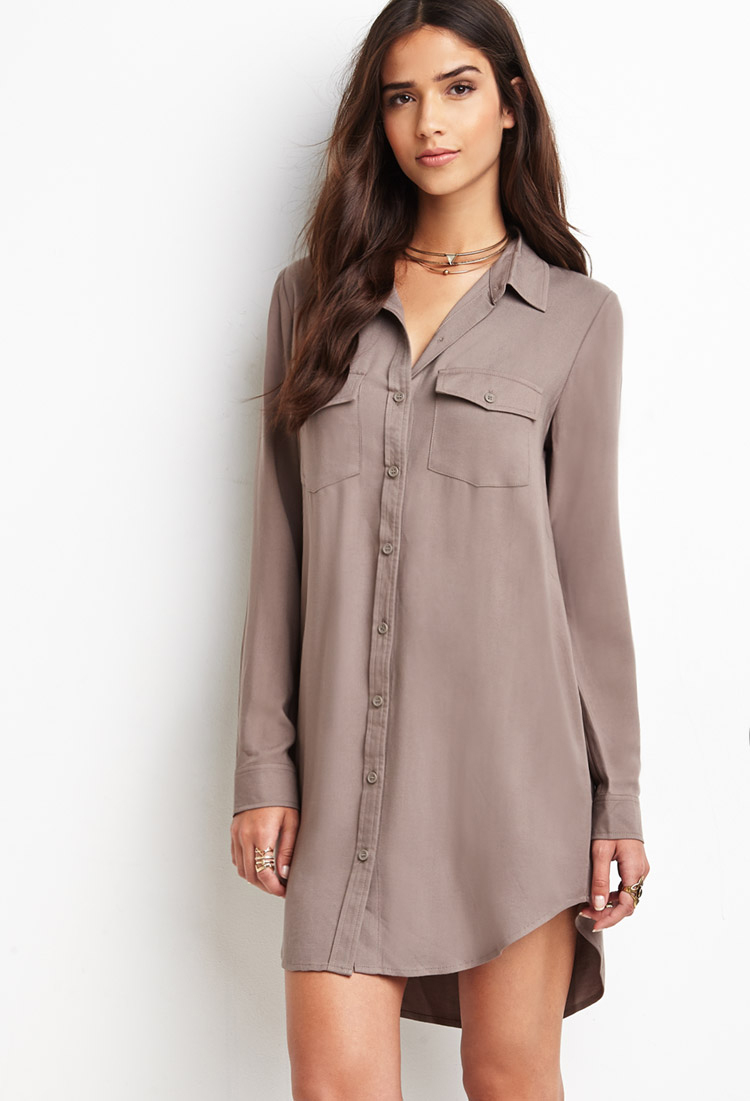 8a9e94f39ad9 Forever 21 Utility Shirt Dress in Brown - Lyst