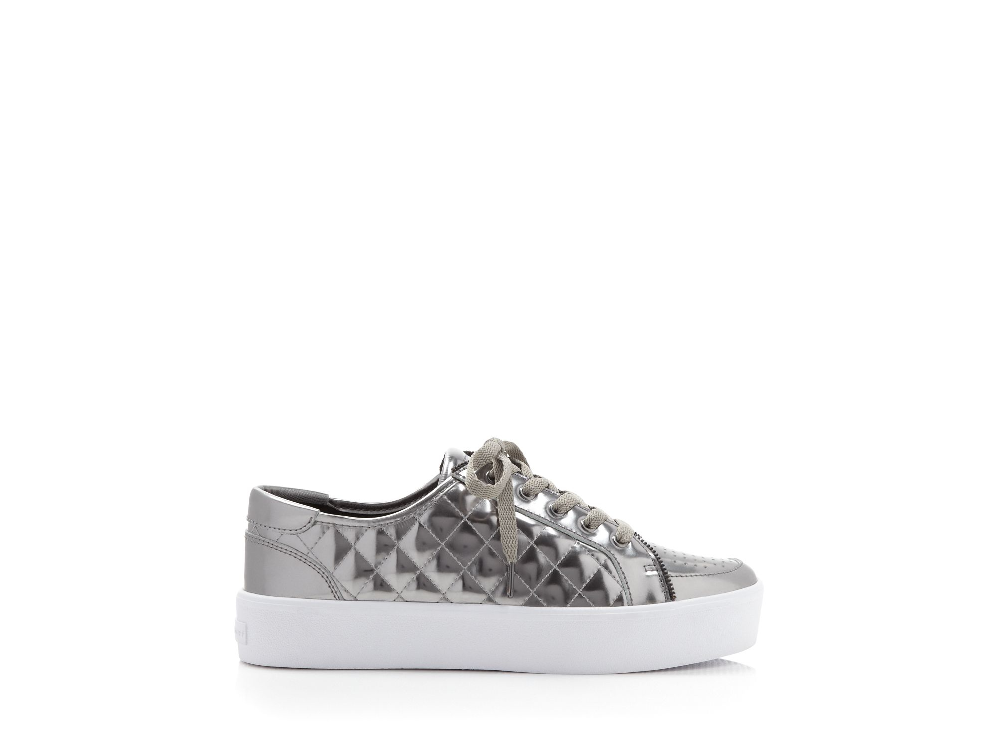 Rebecca Minkoff Leather Metallic Quilted Platform Sneakers