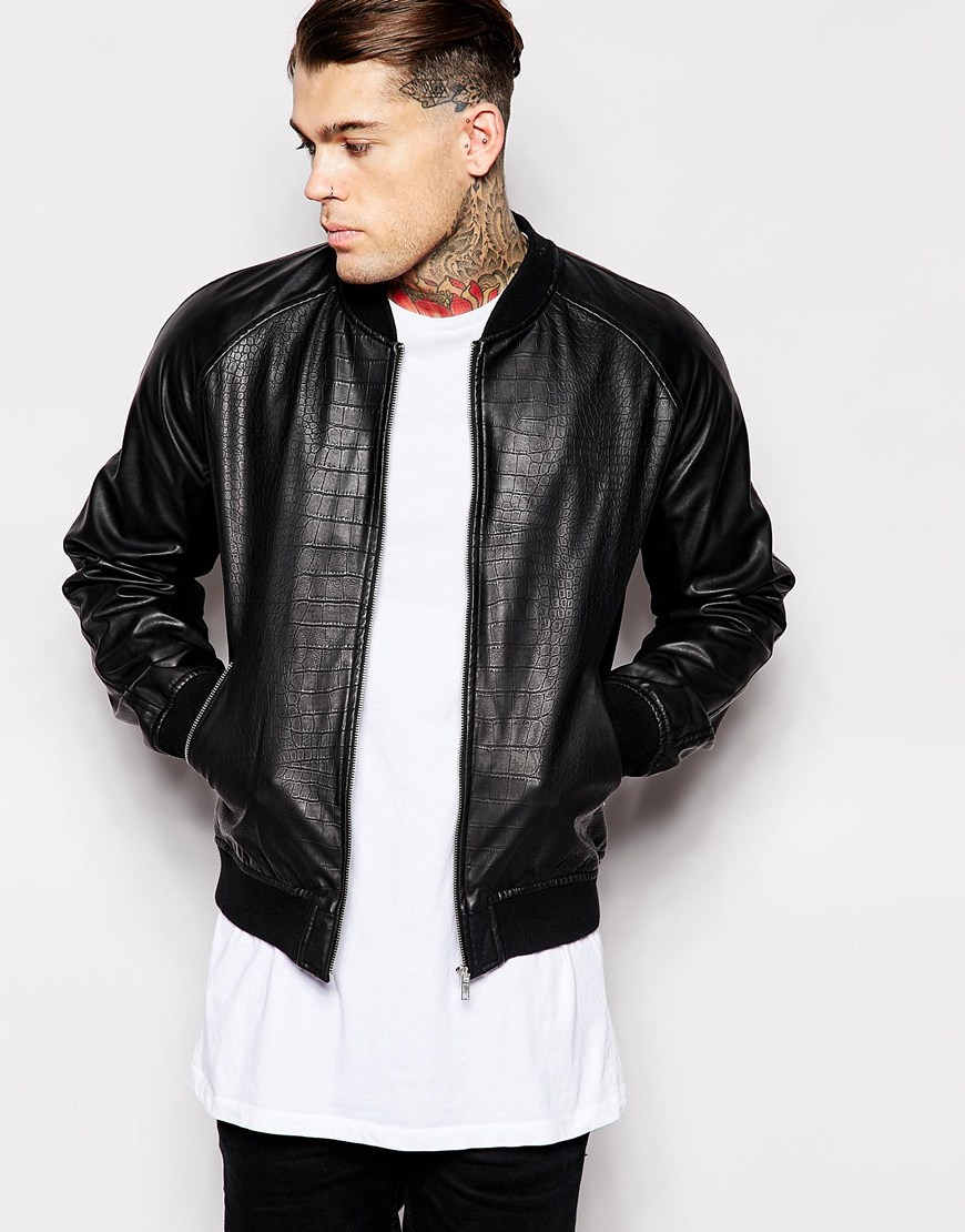 Asos Faux Leather Bomber Jacket In Reptile Print in Black for Men
