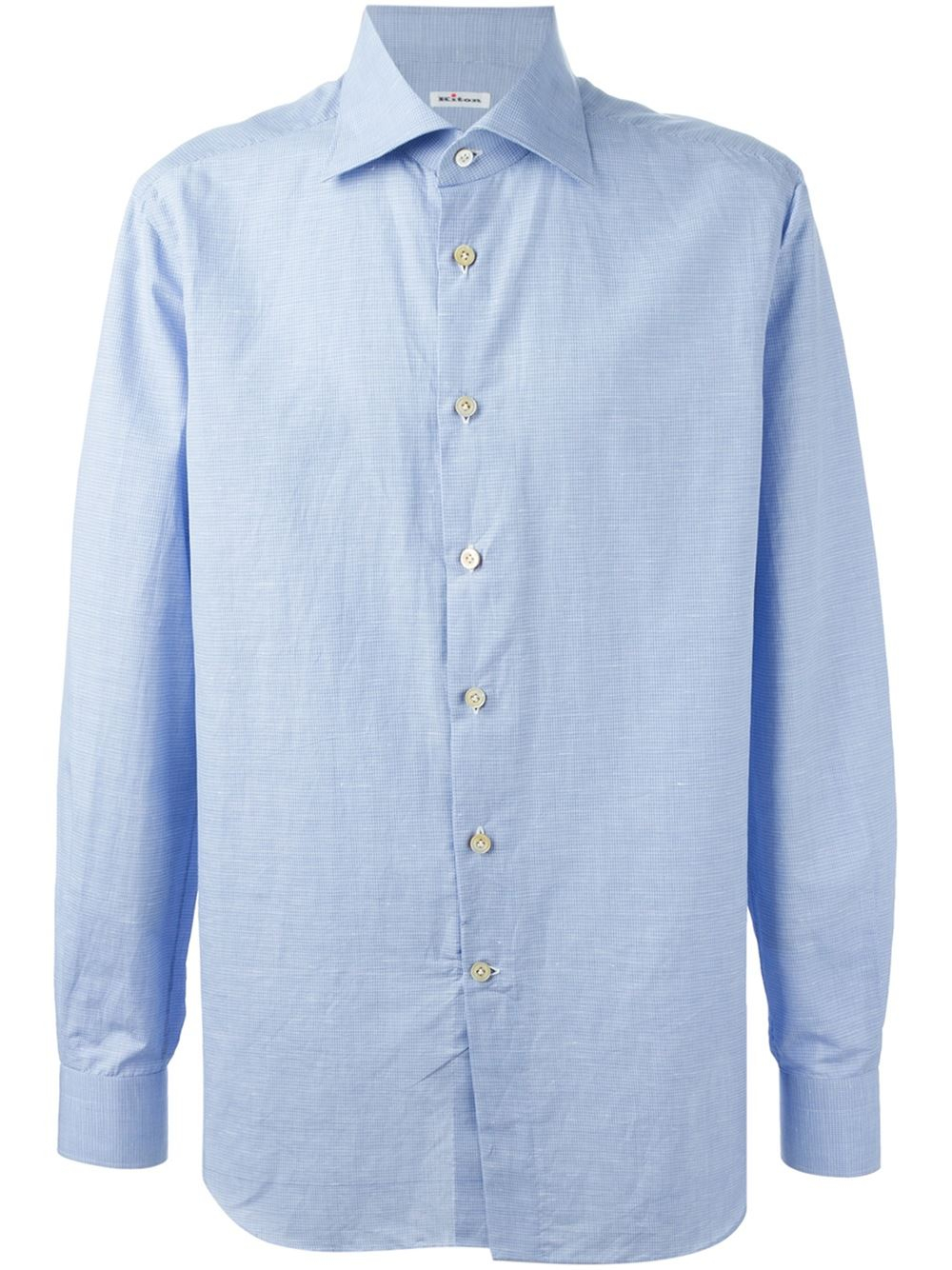 Kiton spread collar shirt in blue for men lyst for Men s spread collar shirts