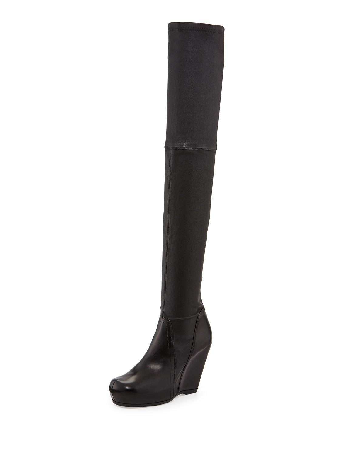 rick owens leather the knee stretch wedge boot in