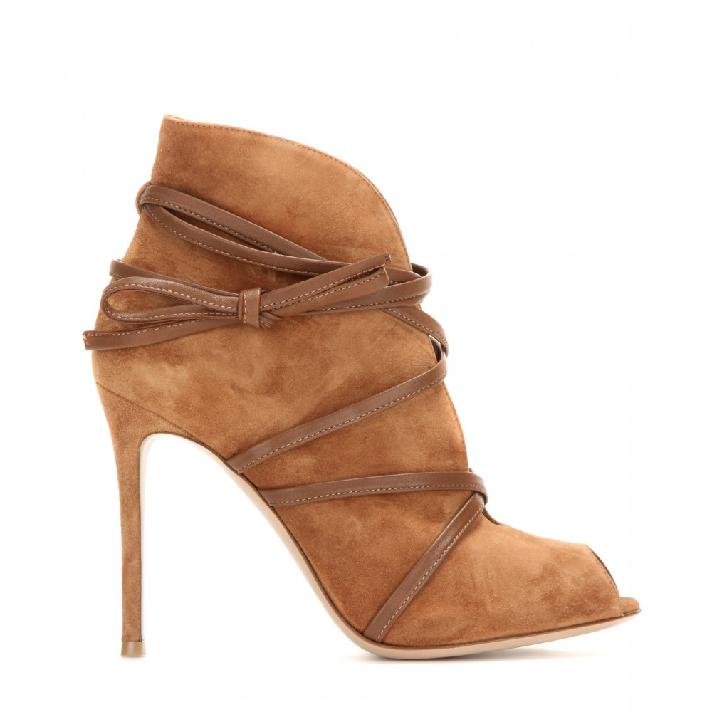 Gianvito Rossi Open-Toe Suede Ankle Boots in Brown
