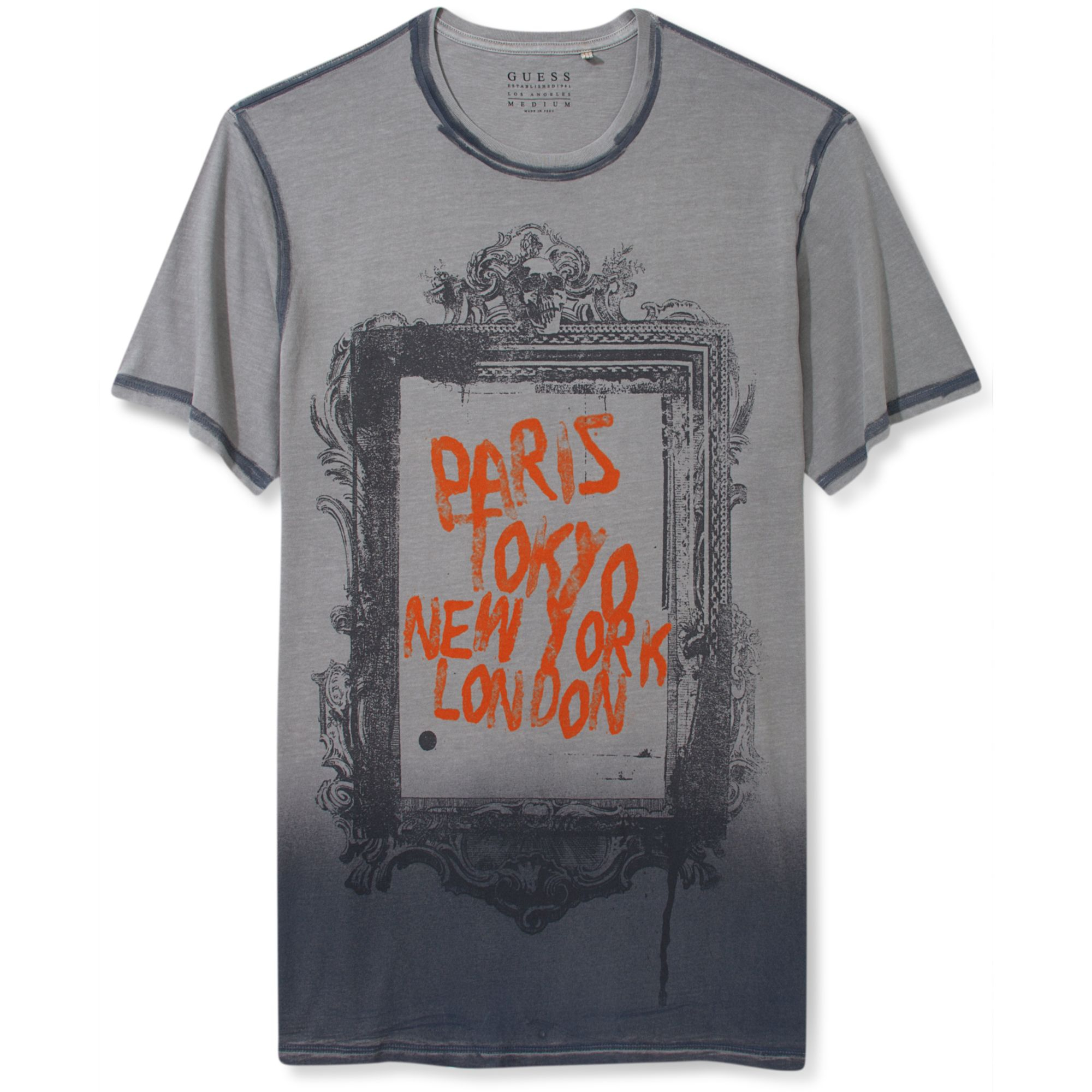 guess gray shirt city frame graphic t shirt product 1 13640997 0. Black Bedroom Furniture Sets. Home Design Ideas