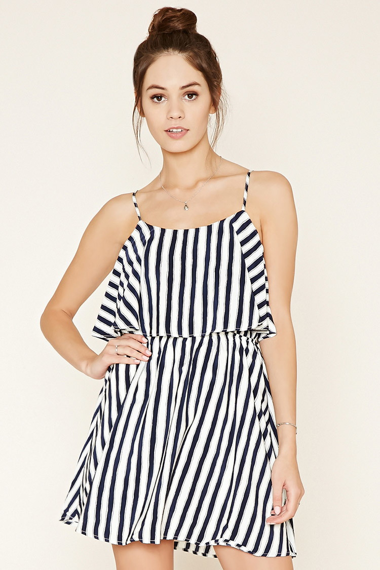 forever 21 striped flounce dress in black lyst