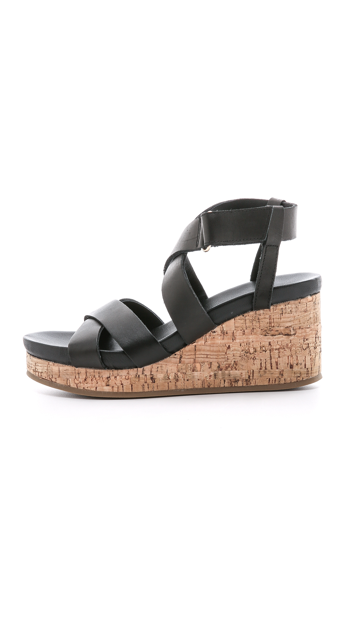 dkny lani cork wedge sandals black in black lyst