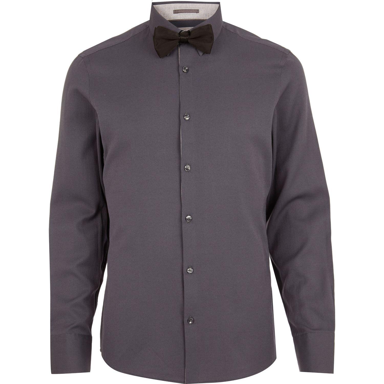 Lyst River Island Dark Grey Long Sleeve Shirt Bow Tie