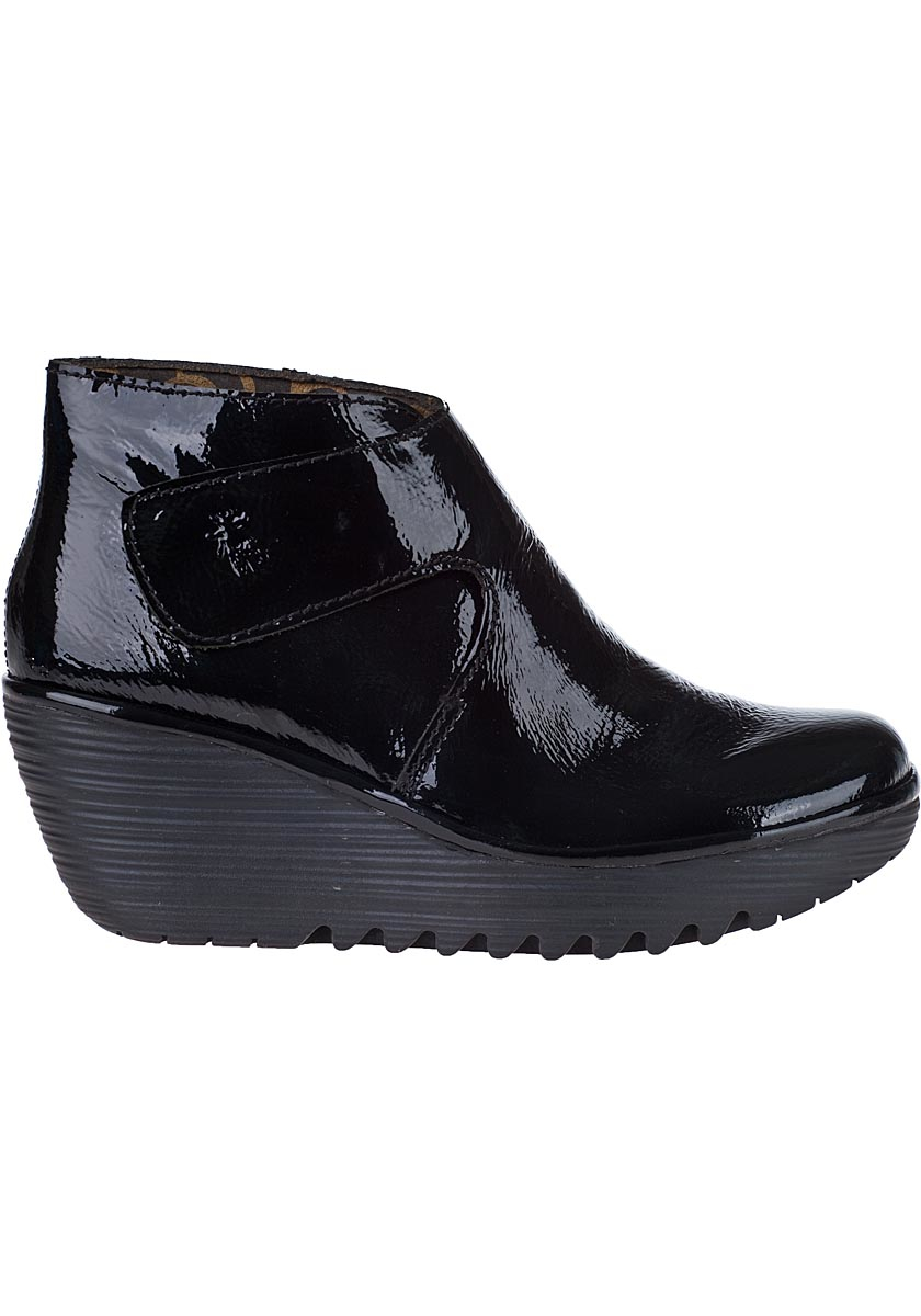 Black Patent Wedge Shoes With Ankle Strap