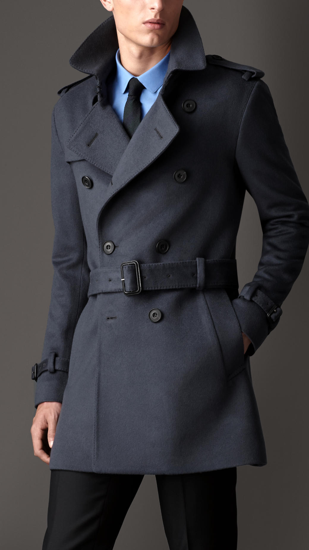 Burberry Mid-Length Virgin Wool Cashmere Trench Coat in Blue for ...