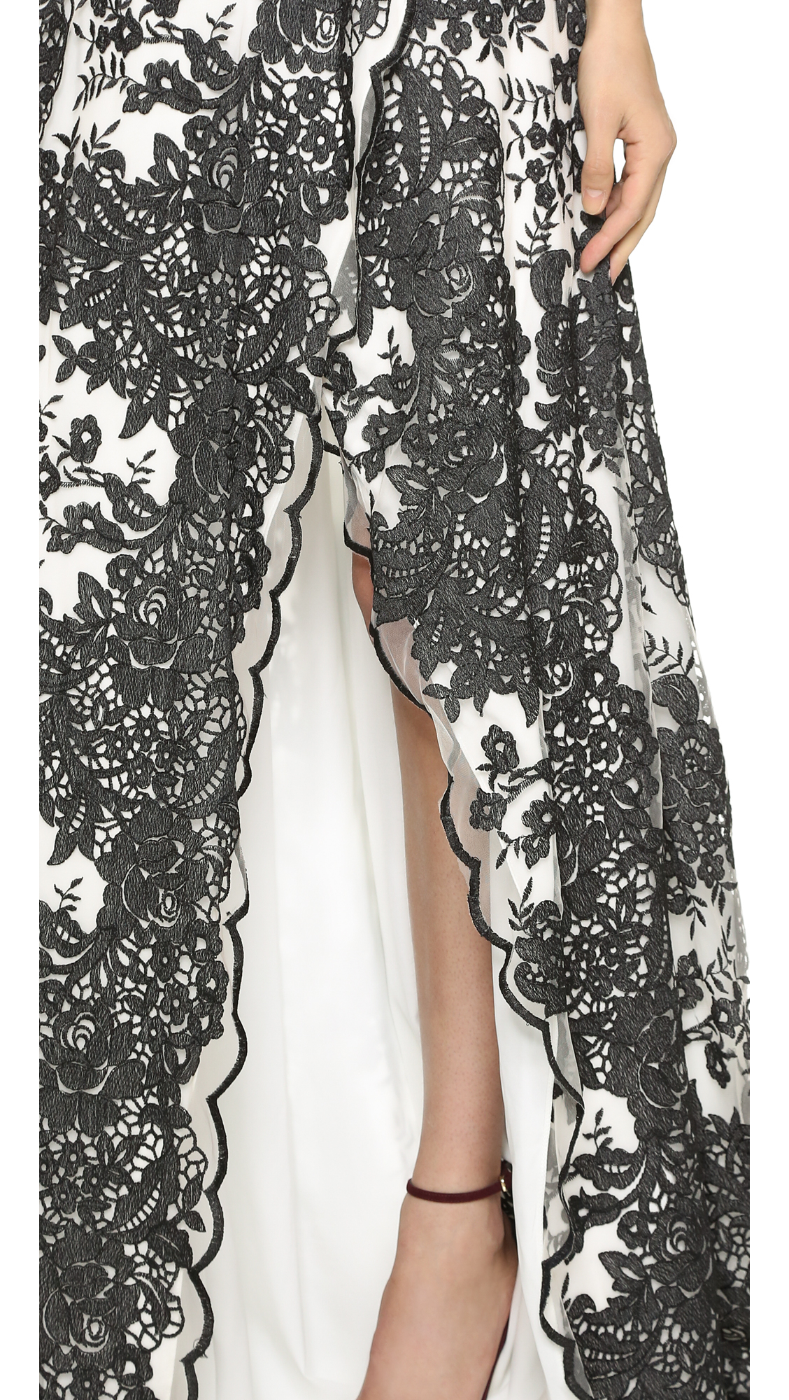 lyst notte by marchesa contrast lace gown black white