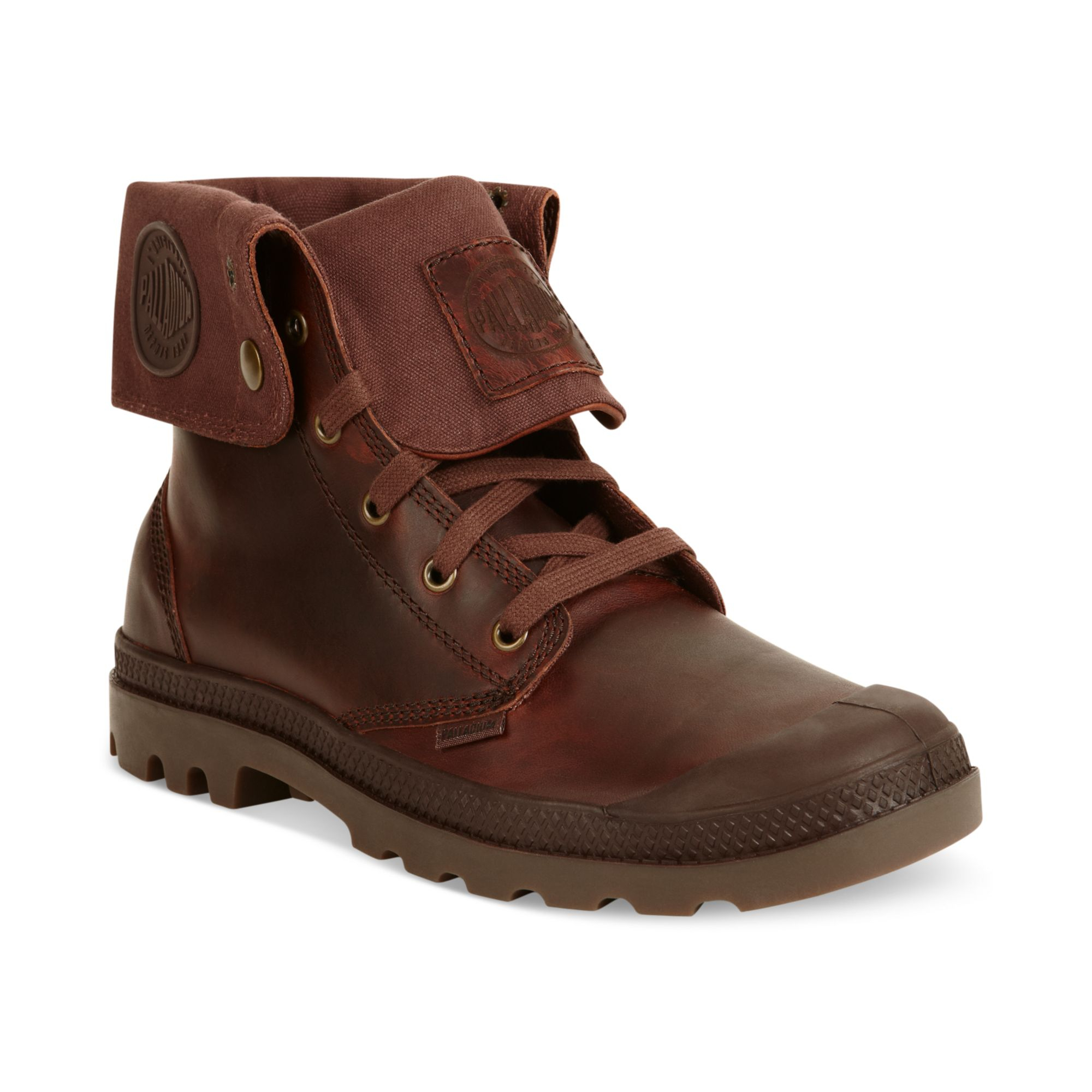palladium baggy leather boots in brown for russet