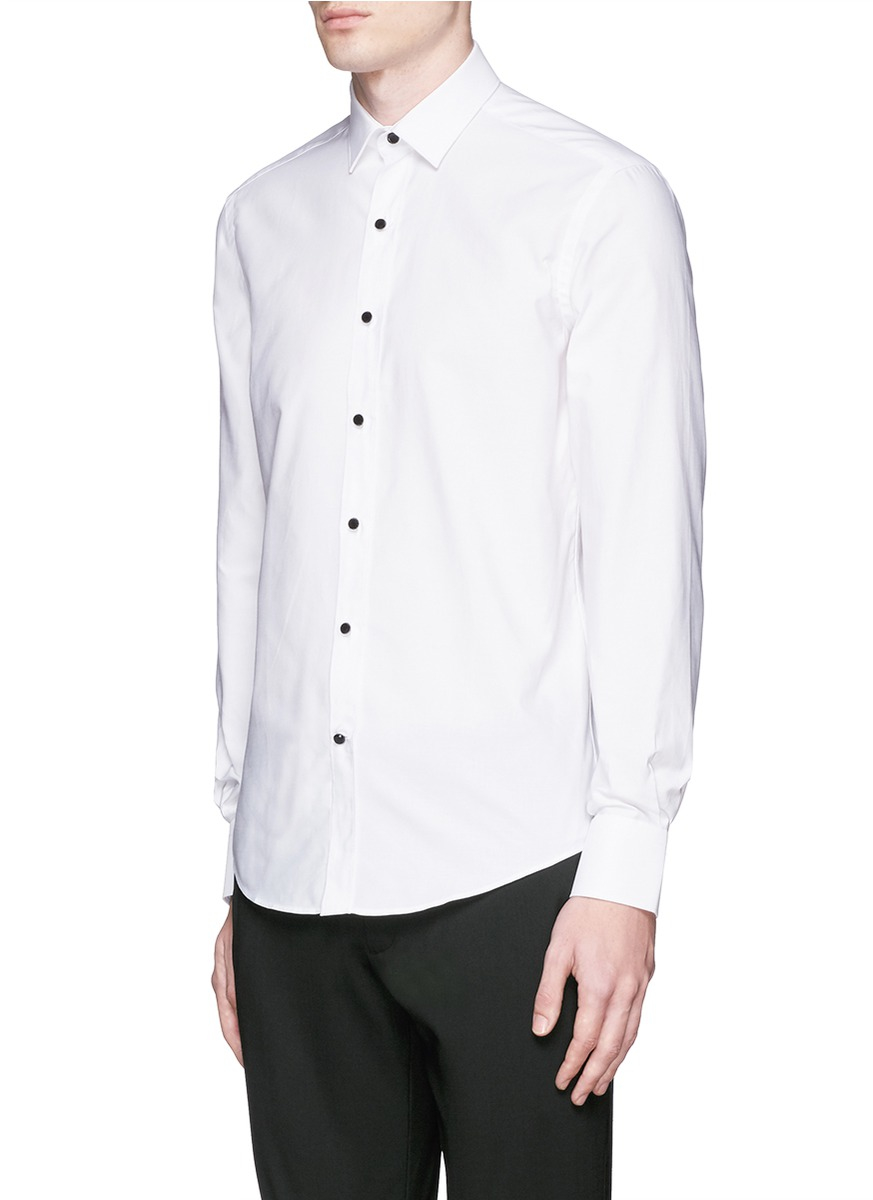 Lyst lanvin glass crystal button tuxedo shirt in white for Tuxedo shirt without studs