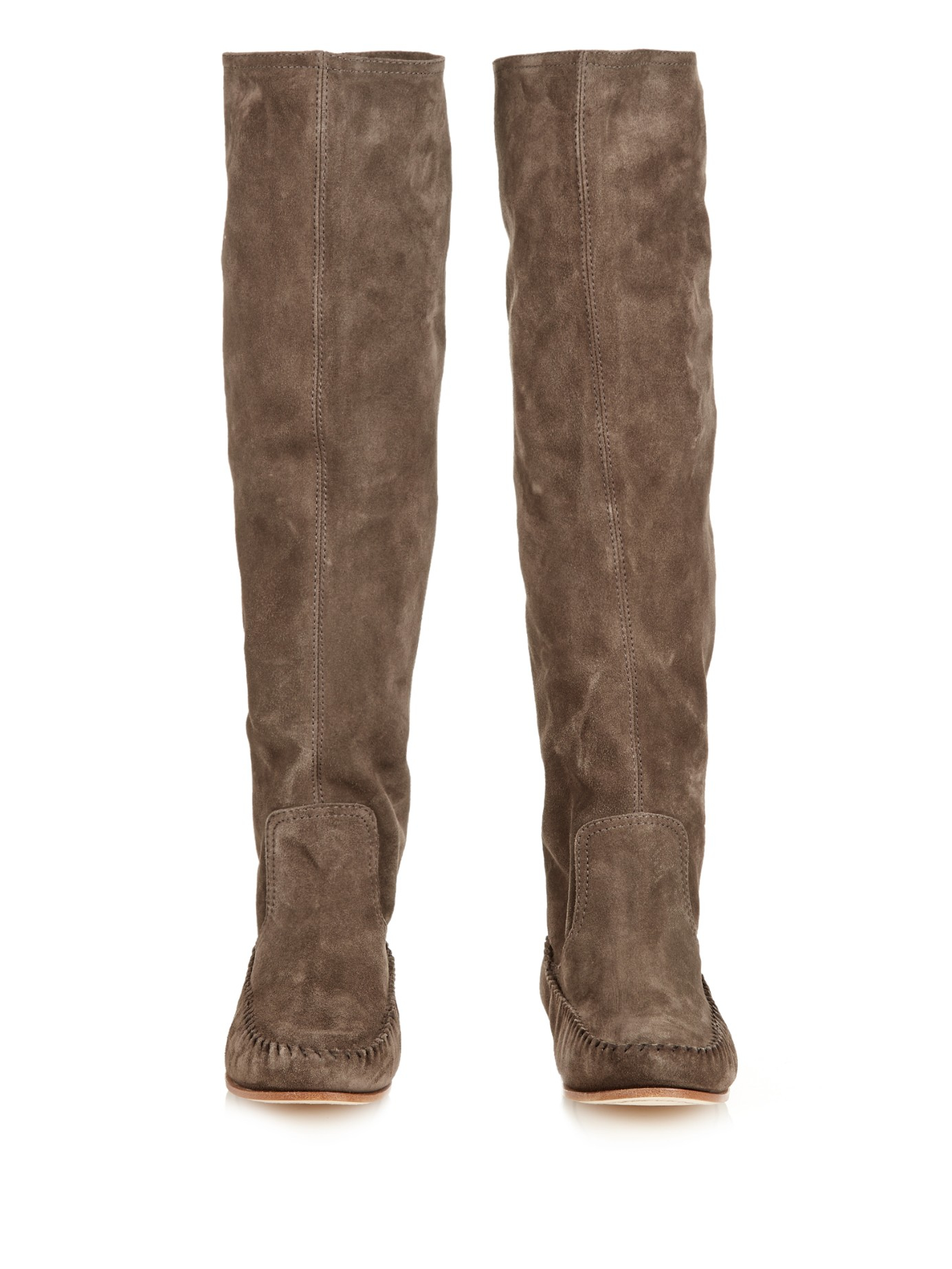 tomas maier slouchy suede knee length boots in brown lyst