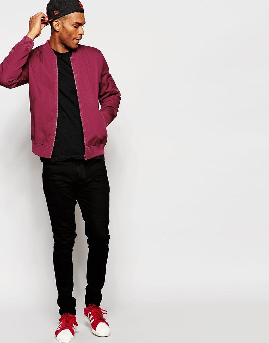 Asos Bomber Jacket In Burgundy in Red for Men | Lyst