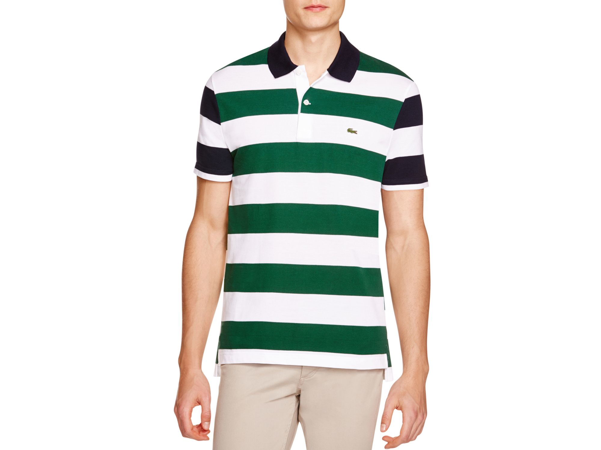 7b50a3e5d7736 Lacoste Mixed Stripe Regular Fit Polo Shirt in Green for Men - Lyst