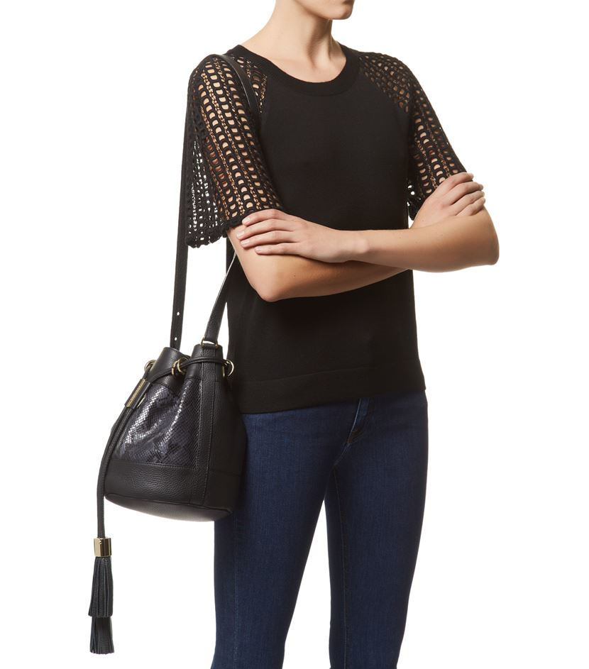 See by chlo¨¦ Small Vicki Python-effect Bucket Bag in Black | Lyst