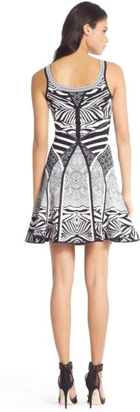 Dvf Perry Structured Flare Dress Knit Flared Dress in Black