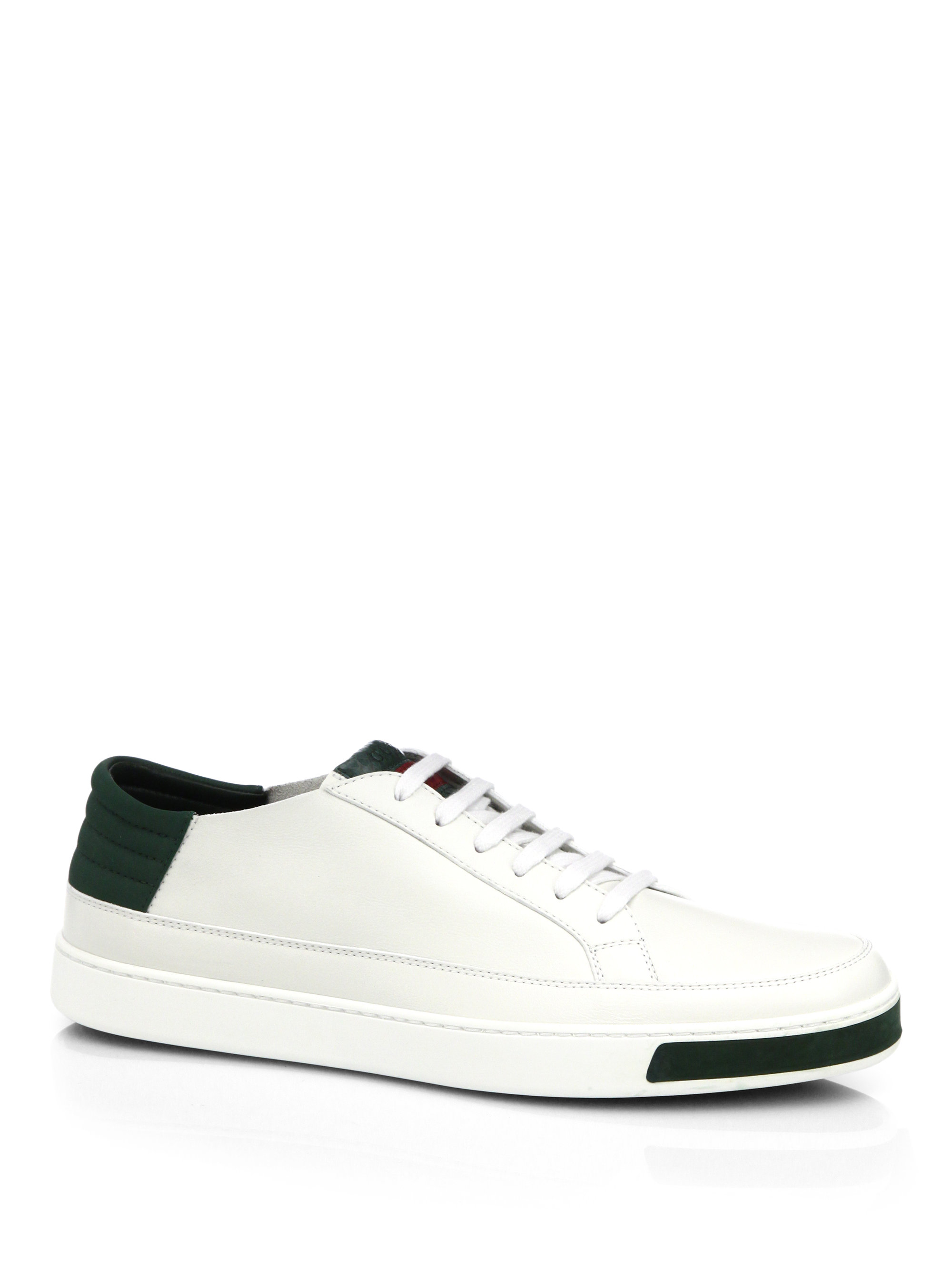 Gucci Leather Suede Lizard Low Top Sneakers In White For Men Lyst