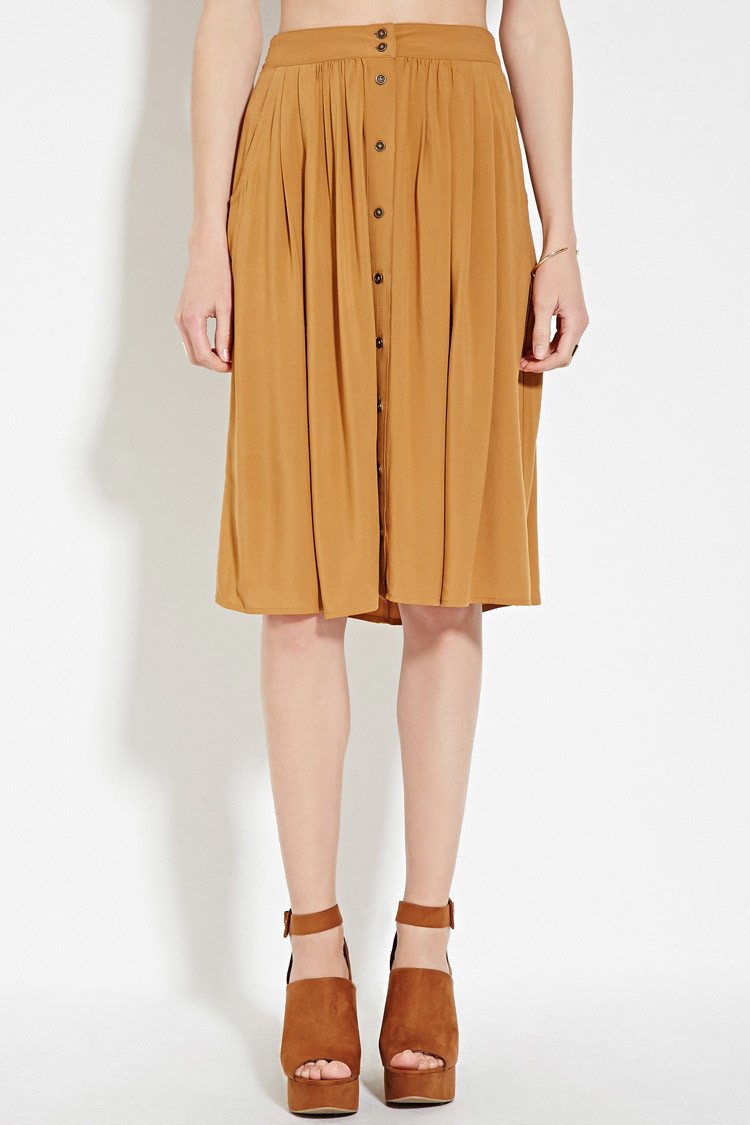 970f3cf42 Forever 21 Contemporary Buttoned Skirt in Natural - Lyst
