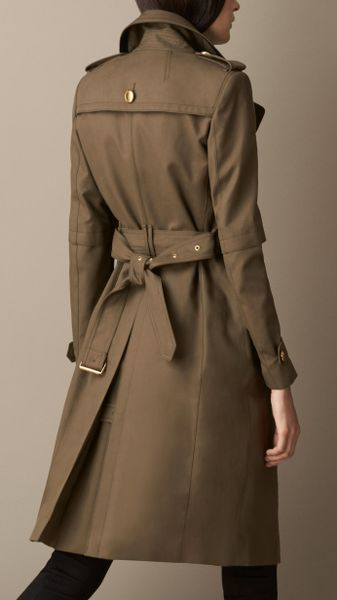 Burberry Double Cotton Military Trench Coat In Green