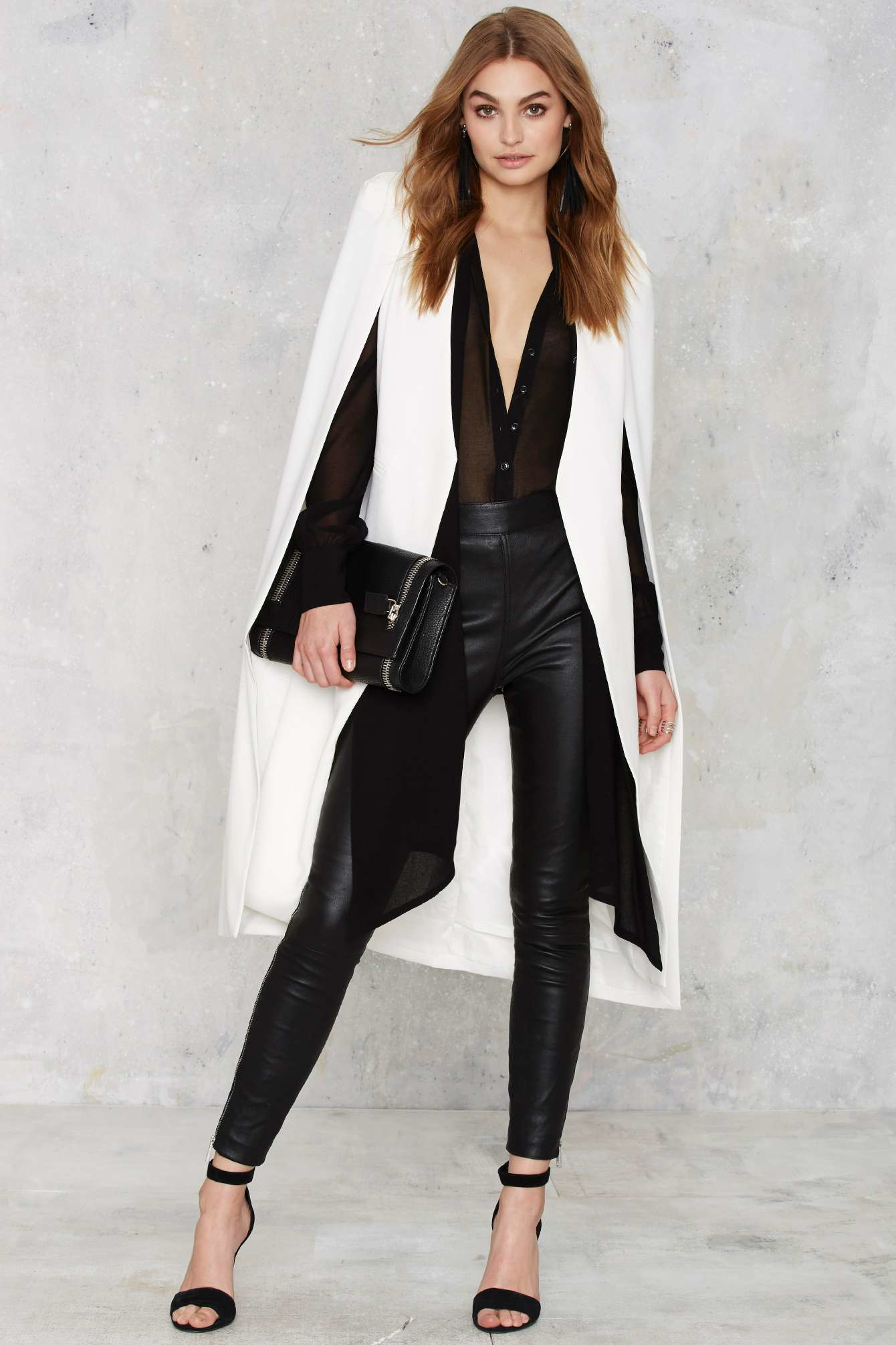 Black and white blazer cape