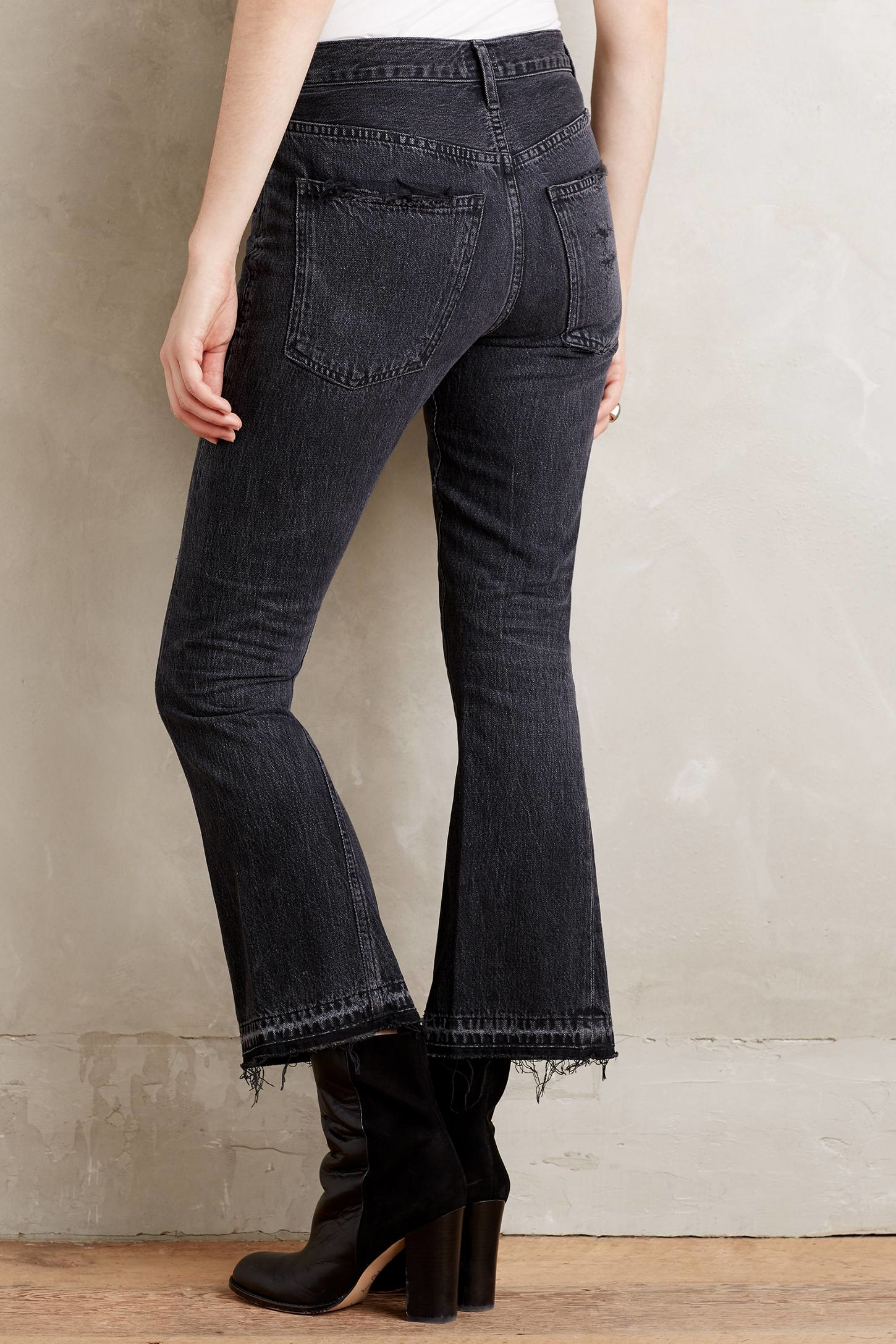 citizens of humanity sasha twist cropped flare jeans in black lyst. Black Bedroom Furniture Sets. Home Design Ideas