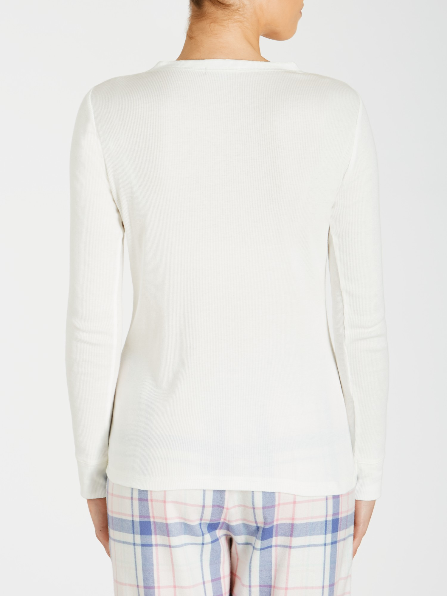 lewis rib sleeve henley top in white lyst
