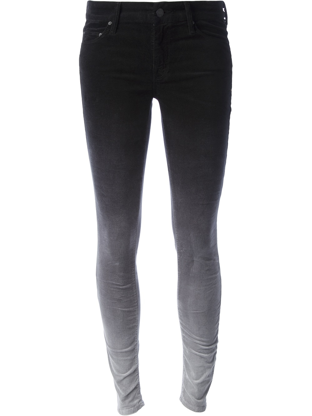 Mother Bicolor Faded Skinny Jeans in Black | Lyst